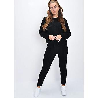 Kabel strikket Loungewear Co-Ord angi svart