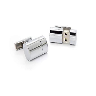 8 جيجابايت تعمل Flashdrive ذاكرة Usb جولة لهجة الفضة أزرار اكمام الجدة