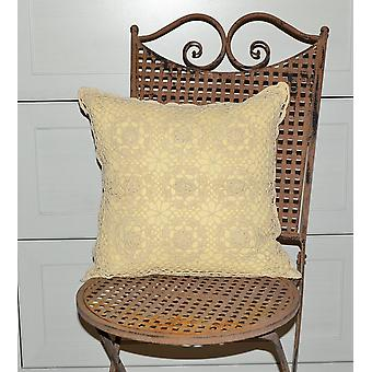 Hossner romantic crocheted Cushion cover shabby vintage cottage nature 40 x 40 cm