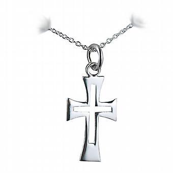 Zilveren 21x12mm Fancy doorboord kruis met een rolo ketting 24 inch