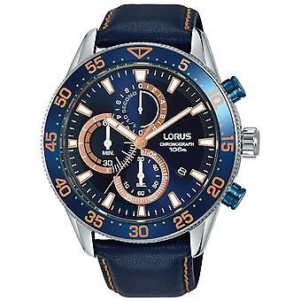 Lorus | Mens Chronograph | Blue Bezel | Blue Leather | Blue Dial | RM341FX9 Watch