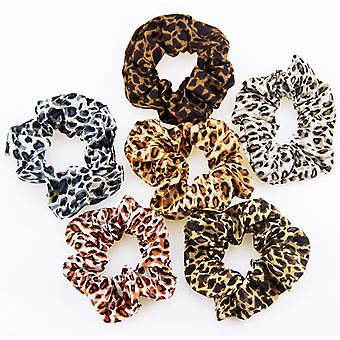 Leopard print hair scrunchies