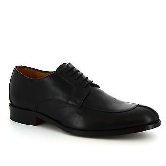 Leonardo schoenen mannen handgemaakte Lace-ups elegante schoenen in zwart kalf leer