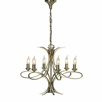 6 Light Multi Arm Ceiling Pendant Chandelier Brushed Brass Effect Plate