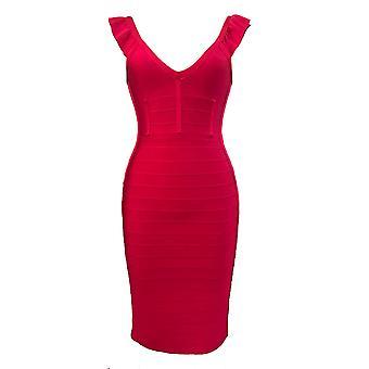 Luxe Rüschen Schulter Verband Kleid