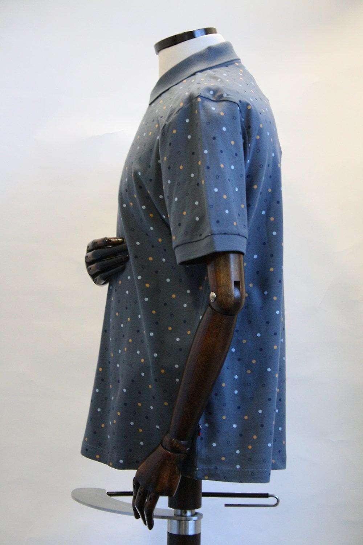 Merc London Dalmeny Steel Blue Dotty Polo Shirt