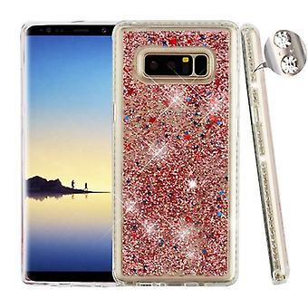 Diamante frame (transparant Clear)/Rose Gold confetti drijfzand glitter Hybrid Protector cover voor Galaxy Note 8