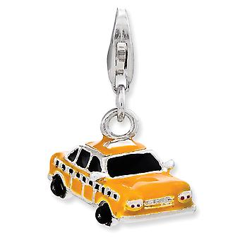 925 Sterling Silver Rhodium plated Fancy Lobster Closure Enameled Taxi Cab With Lobster Clasp Charm Pendant Necklace Jew