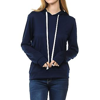 SSOULM Women's Casual Long Sleeve Pullover Hoodie with Kangaroo Pockets Navy M