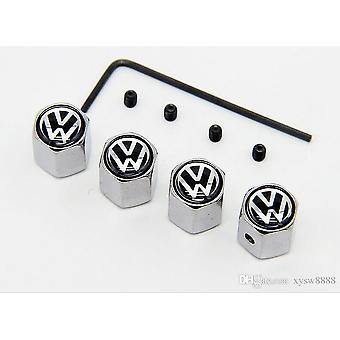Set of 4 Alumium Anti-Theft Car Tyre Air Dust Valve Stem Cap For Volkswagen