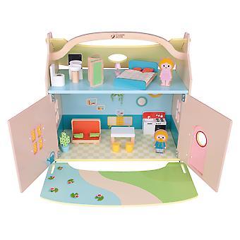 Classic World - Maison de rêve moderne en bois, Maison Doll-apos;s avec meubles, figurines et jardin