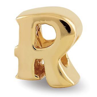 925 Sterling Silber poliert 14 k gold vergoldet Reflexionen Brief Name personalisierte Monogramm initial R Perle Charme Anhänger