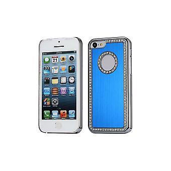 Coque Pour Iphone 5c Aluminium Brossé Bleu Nuit Et Strass