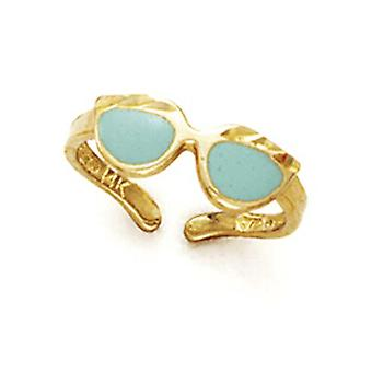 14k Yellow Gold Green Enamel Sunglasses Toe Ring Jewelry Gifts for Women - 1.3 Grams