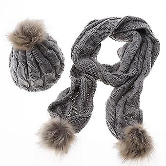 Vincenza women winter knitted thick pom pom hat cap and scarf set