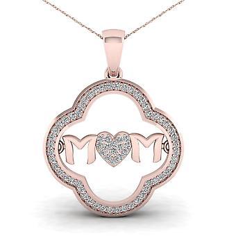 Igi certified 10k rose gold 0.2ct tdw diamond mom heart pendant necklace