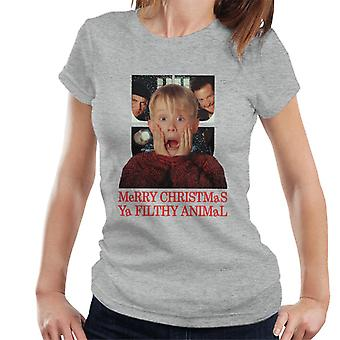Home Alone Window Merry Christmas Ya Filthy Animal Women's T-Shirt