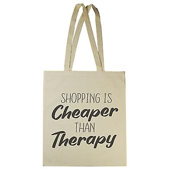 Shopping Is Cheaper Than Therapy - Canvas Tote Shopping Bag