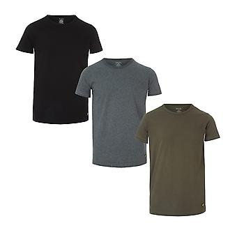 Mens Lyle And Scott Maxwell 3 Pack T-Shirts In Green Black- Clean Design- Ribbed