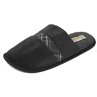 Coolers Mens Plaid Check Strip Design Lined Mule Slippers