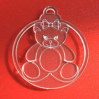 6pk Mr and Mrs Teddy Bear Clear Acrylic Christmas Decorations