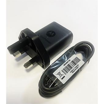 Oficial Motorola TurboPower SC-53 UK 3 Pin Mains Charger com USB-C para USB-A Data Cable SKN6473A - Preto