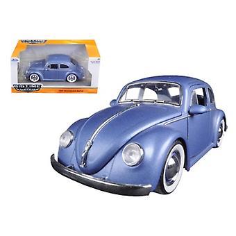 1959 Volkswagen Beetle Satin Metallic Matt Blue with Baby Moon Wheels 1/24 Diecast Model Car by Jada