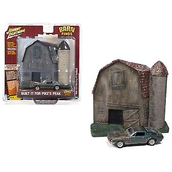 1968 Ford Mustang GT Fastback Green (Unrestored) with Barn Finds Resin Facade Diorama Lost Legend Series 1/64 Diecast Model by Johnny Lightning