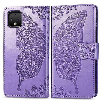 For Google Pixel 4 XL tilfelle butterfly kjærlighet blomster lommebok beskyttende deksel lilla