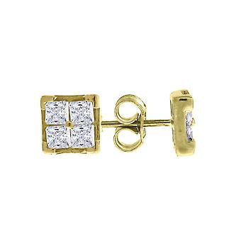10k Yellow Gold Mens Princess Cut CZ Cubic Zirconia Square Stud Earrings Measures 6.7x6.70mm Wide Jewelry Gifts for Men