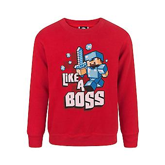 Minecraft som en sjef Steve Boy & apos; s rød langermet sweatshirt genser