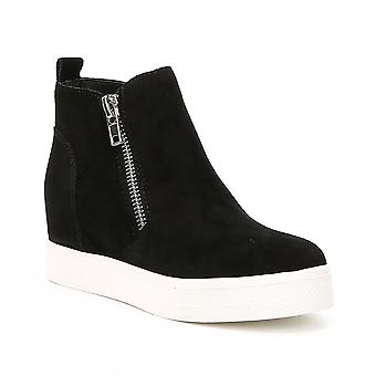 Steve Madden Womens wedgie Leather Hight Top Slip On Fashion Sneakers
