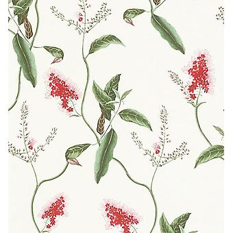 Botanical Leaves Wallpaper Rasch Red Green Textured Paste The Wall Vinyl