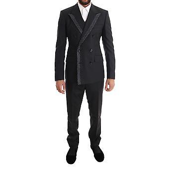 Dolce & Gabbana Gray Dwurzędowy 3-częściowy garnitur