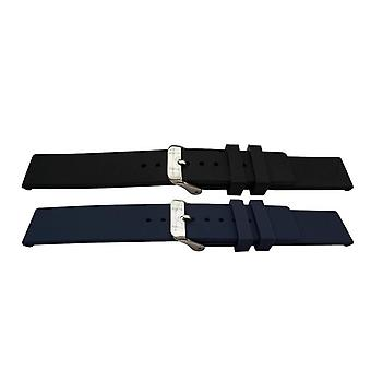 Rubber watch strap smooth chunky style with modern square end black or blue 14mm to 22mm