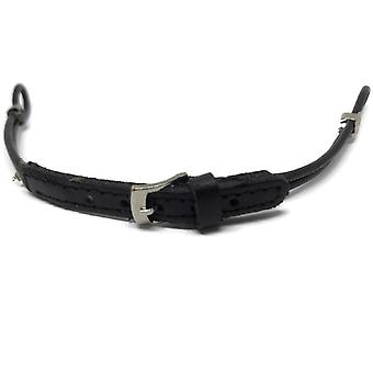 Cordette watch strap black leather standard and extra long