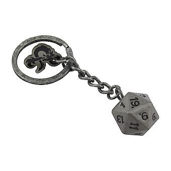 Dungeons & Dragons D20 Klíčenka šedá, potištěná, 100% kovová.
