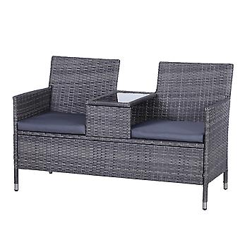 Outsunny PE Rattan Duo Seat Table Bench w/ Padded Cushions Glass Tabletop 2 Seater Chair Love Seat Garden Patio Outdoor Furniture