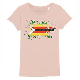 STUFF4 Girl's Round Neck T-Shirt/Zimbabwe Flag Splat/Coral Pink