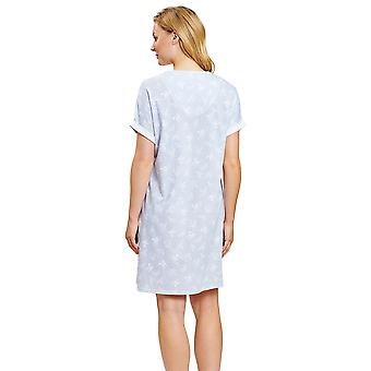 1203038-16402 Femmes-apos;s Smart Casual Blue Mono Flowers Floral Nightdress
