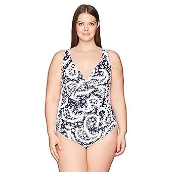 Anne Cole Women's Plus-Size Over The Shoulder Floral One, Navy White, Size 20W