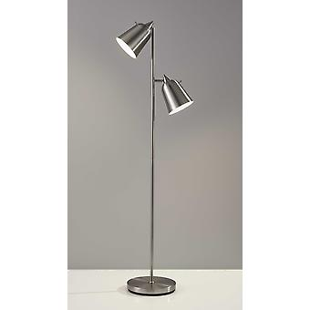 Brushed Steel Two Light Floor Lamp With Adjustable Shades