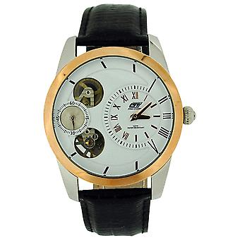 GT Precision Gents Automatic Skeleton Chrono Black Leather Strap Watch GT16B