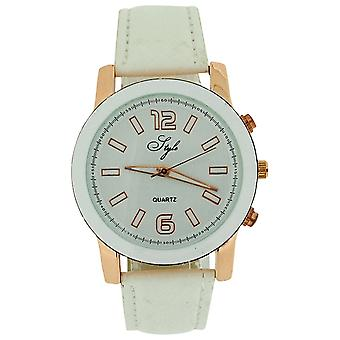 Style Ladies Analogue White Dial & White Crocodile Effect PU Strap Watch NSS906