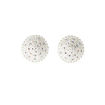 Womens Pearl Bridal Reusable Round Rhinestone Pasties Nipple Covers White OS