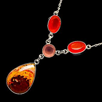 Mookaite, Carnelian, Rose Quartz Necklace 16 1/2 To 18
