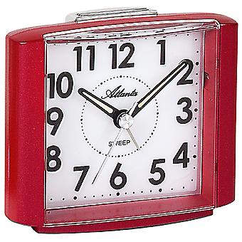 Atlanta 1959/1 Alarm clock quartz analog red quiet without ticking with light snooze
