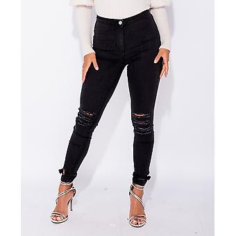 Charcoal Ripped High Waist Jeggings - Ladies - Black