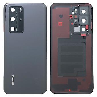 Tampa da bateria da Huawei Tampa da bateria Tampa da bateria Tampa preta / preta para P40 Pro 02353MEL Reparo novo