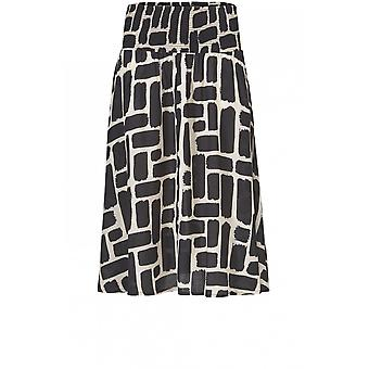 Masai Clothing Sondra Black & Cream Bold Print Skirt